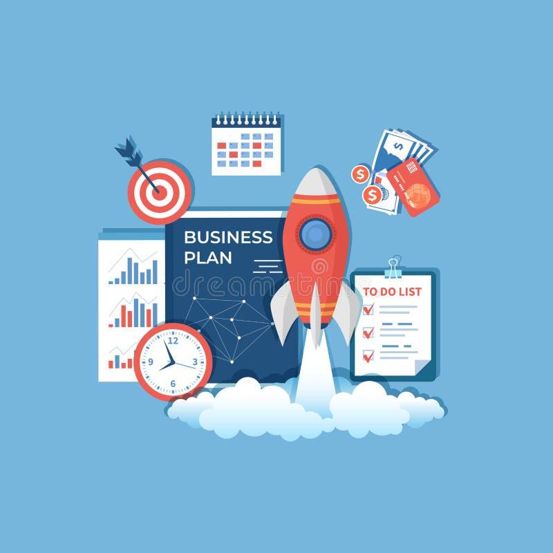 Partenza di progetto di affari, realizzazione e successo della gestione di strategia di idea di pianificazione finanziaria Lancio illustrazione di stock