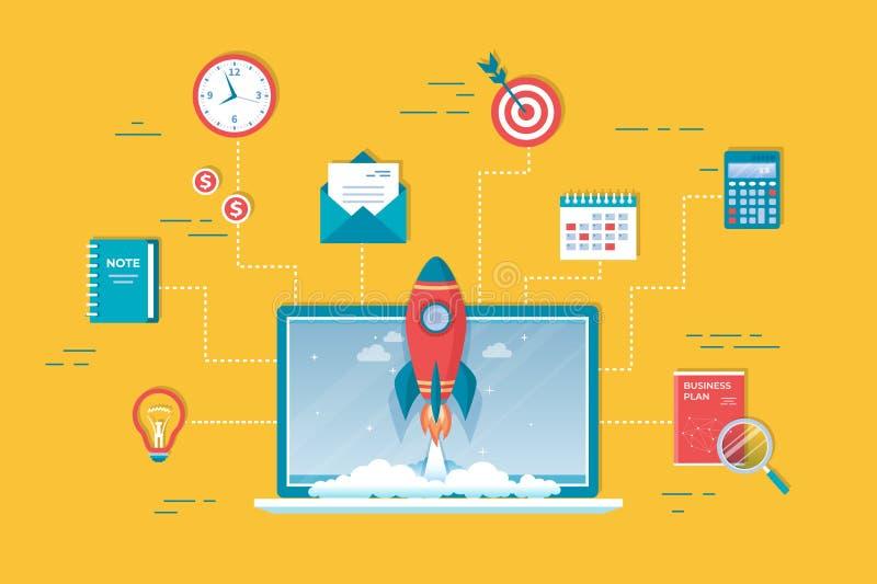 partenza di progetto 10Business, pianificazione finanziaria, processo di sviluppo di idea, strategia, gestione, realizzazione, la illustrazione di stock