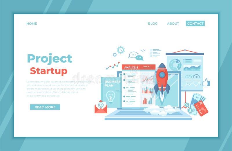 Partenza di progetto Successo di realizzazione della gestione di strategia di idea di pianificazione finanziaria Lancio di Rocket royalty illustrazione gratis
