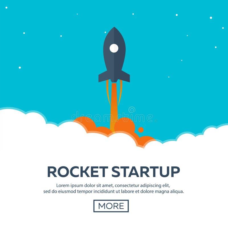 Partenza di Rocket Affare Nave di Rocket in uno stile piano Illustrazione di vettore Viaggio nello spazio alla luna Lancio del ra illustrazione vettoriale