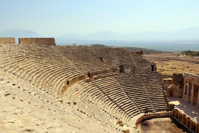 Parterre antyczny teatr antyczny miasto Hierapolis obrazy stock