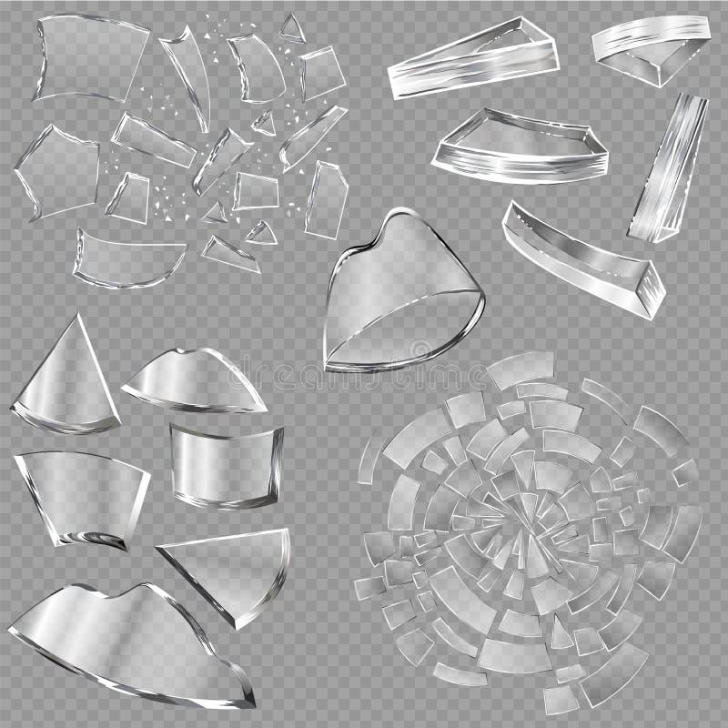 Partes afiadas de vidro quebradas de janela e de produtos vidreiros ou de restos quebrados realísticos da quebra de quebrar o esp ilustração royalty free