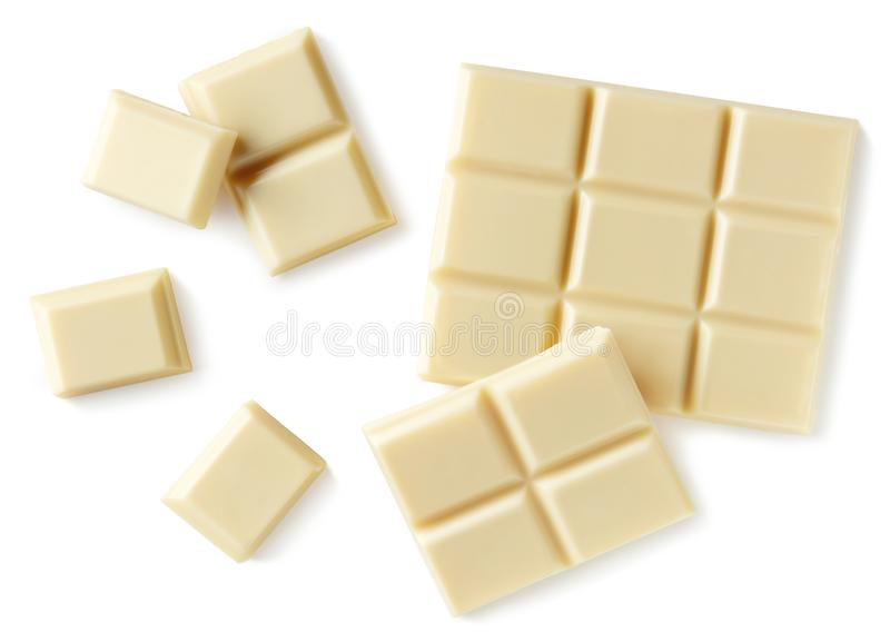 Partes brancas do chocolate isoladas no fundo branco foto de stock royalty free