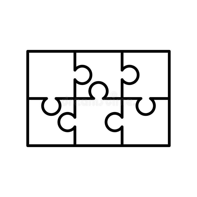 6 partes brancas dos enigmas arranjaram em uma forma do retângulo Molde do enigma de serra de vaivém pronto para a cópia Diretriz ilustração stock
