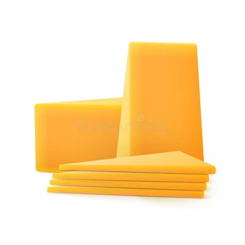 Partes cortadas triangulares de queijo cheddar isoladas no fundo branco ilustração do vetor
