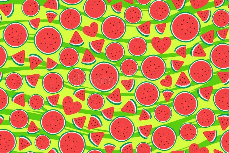 Partes da melancia do verão Teste padrão sem emenda largo Ilustra??o do vetor na textura listrada verde ilustração stock