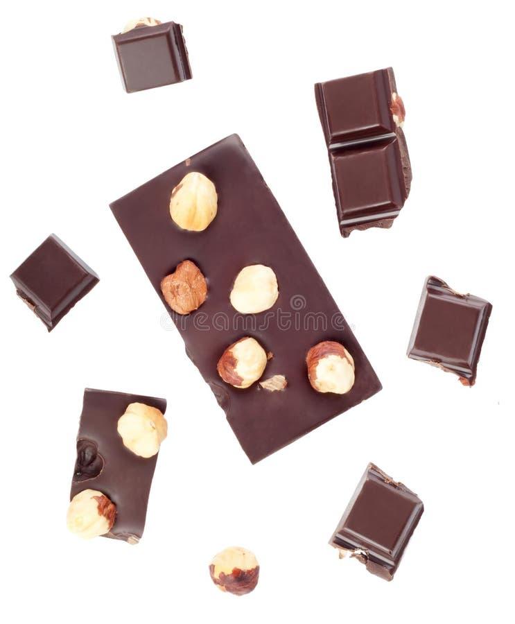 Download Partes De Barra De Chocolate Com Porcas Foto de Stock - Imagem de marrom, addiction: 16867828