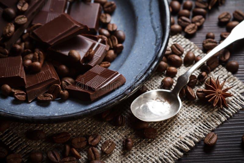 Partes de chocolate foto de stock