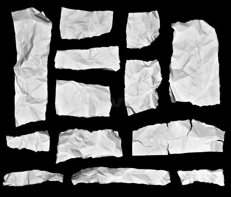 Partes de papel enrugadas da nota fotos de stock