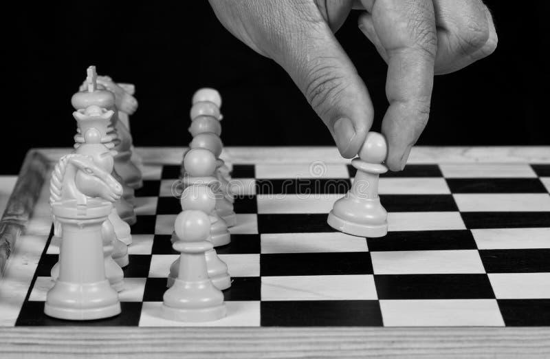 Partes de xadrez brancas com jogo da mão imagem de stock royalty free