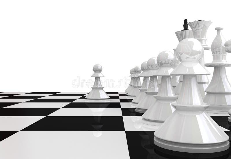 Partes de xadrez brancas - 3D rendem ilustração stock