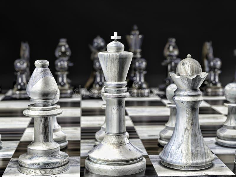 Partes de xadrez brancas e pretas de madeira ilustração do vetor