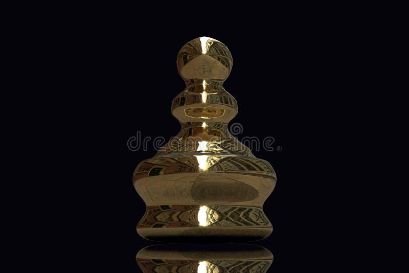 partes de xadrez do ouro da rendição 3d ilustração do vetor