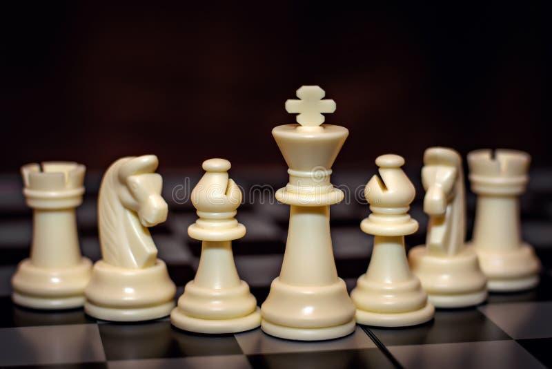 Partes de xadrez em um tabuleiro de xadrez imagem de stock