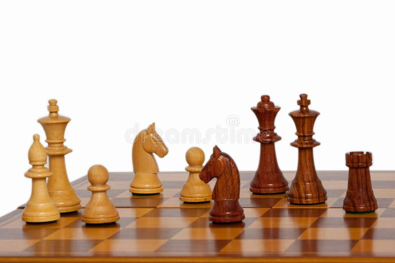 Partes de xadrez de madeira imagem de stock