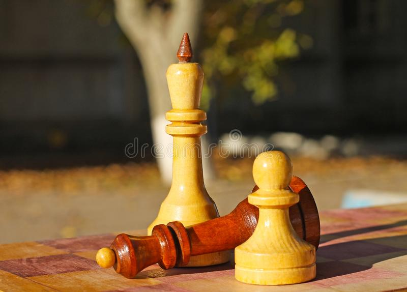 Partes de xadrez na tabela imagem de stock
