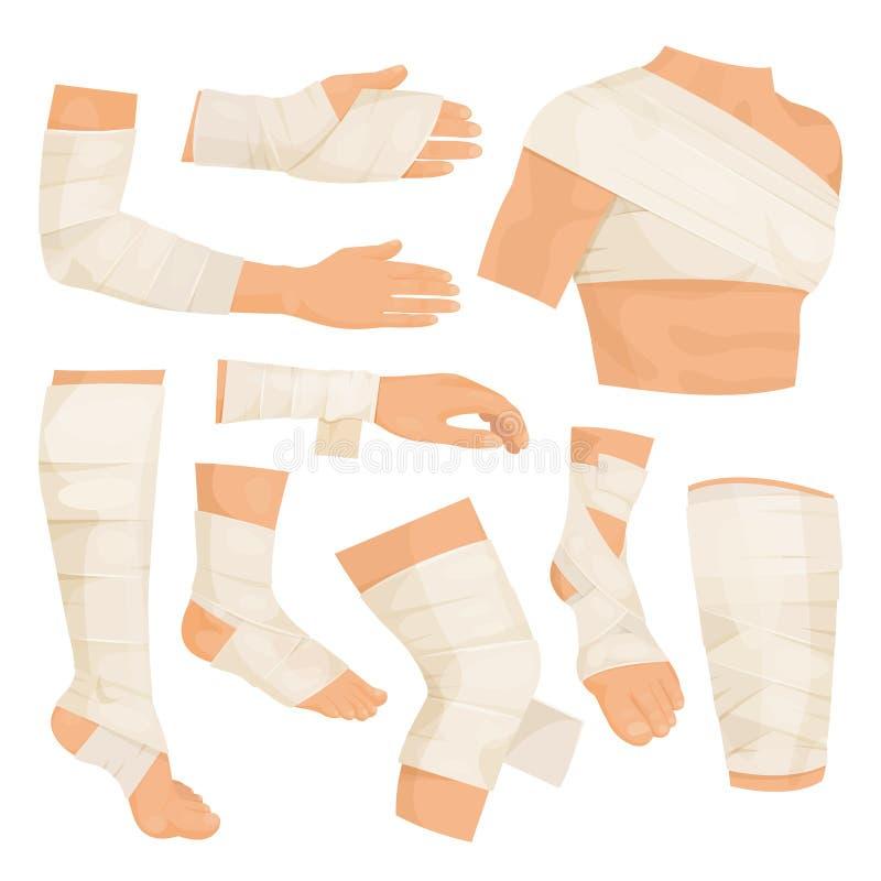 Partes del cuerpo vendadas ilustración del vector