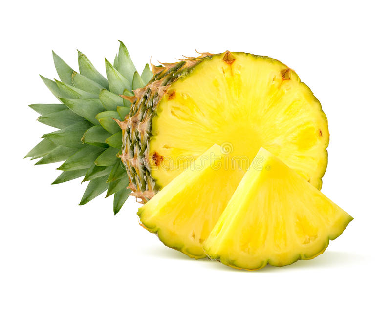 Partes do abacaxi no fundo branco foto de stock
