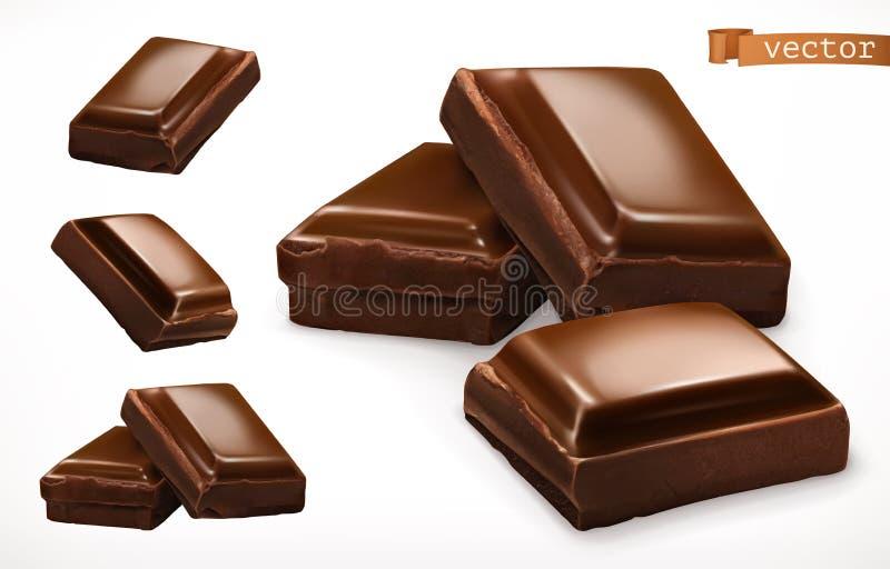 Partes do chocolate ícone realístico do vetor 3d ilustração do vetor