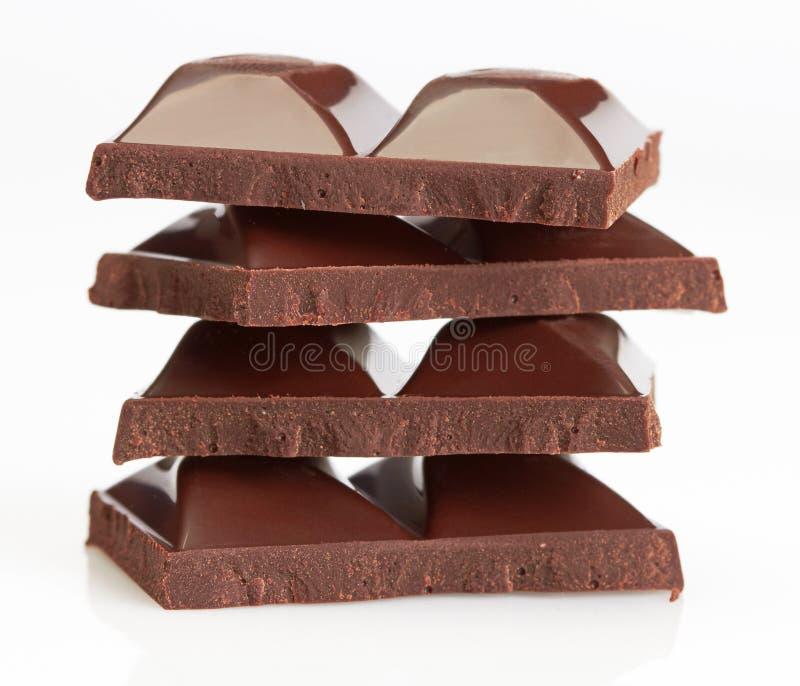 Partes do chocolate foto de stock