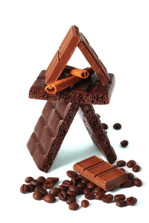 Partes do chocolate 3 fotos de stock
