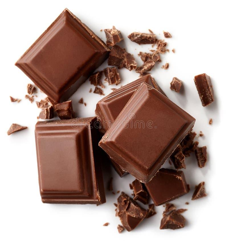 Partes do chocolate de leite imagem de stock royalty free