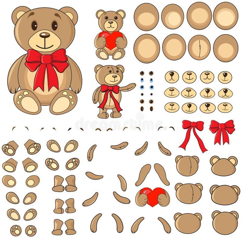 Partes do corpo de um urso no vetor fotografia de stock