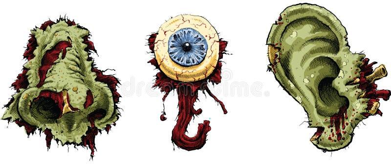 Partes do corpo do zombi ilustração royalty free