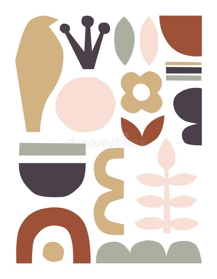 Partes do corte do papel do vetor Colagem de papel abstrata na moda dos entalhes ilustração stock