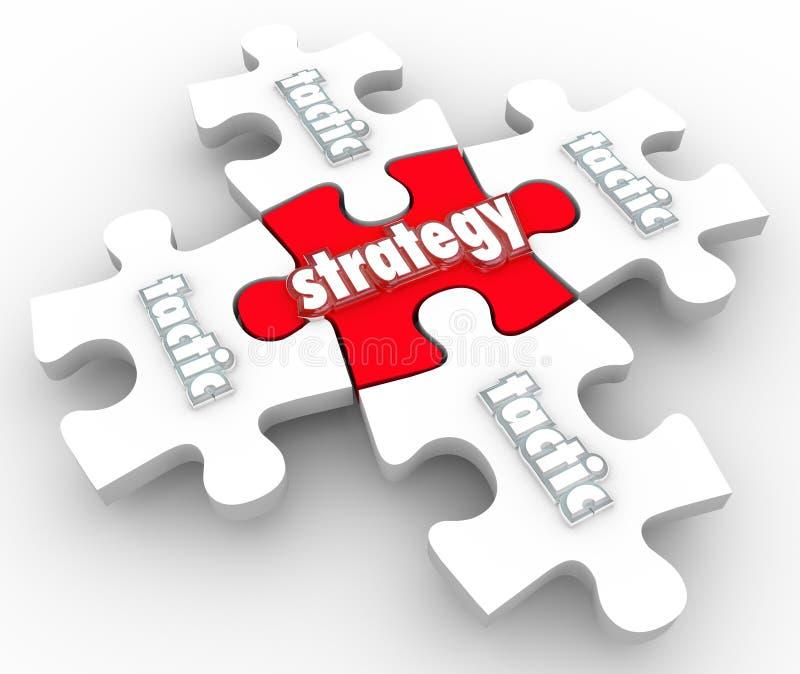 Partes do enigma da execução da aplicação do plano das táticas da estratégia ilustração stock