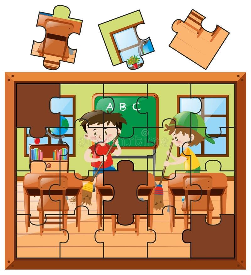 Partes do enigma de serra de vaivém com os meninos que limpam a sala de aula ilustração royalty free