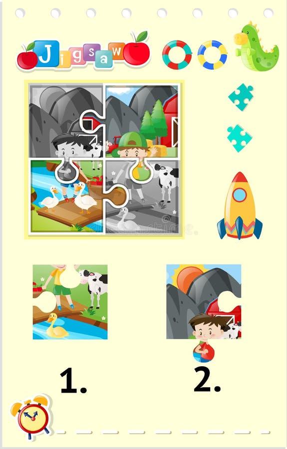 Partes do enigma de serra de vaivém de crianças e de animais de exploração agrícola ilustração stock
