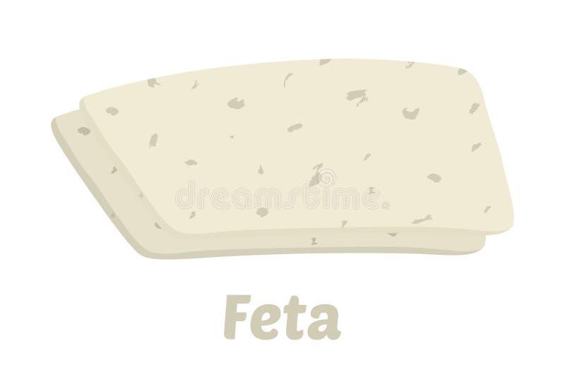 Partes do queijo de feta do vetor Fatia, pedaço no estilo liso dos desenhos animados ilustração royalty free