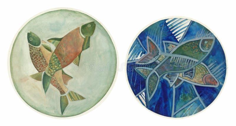 Partes, peixes, desenhando ilustração stock