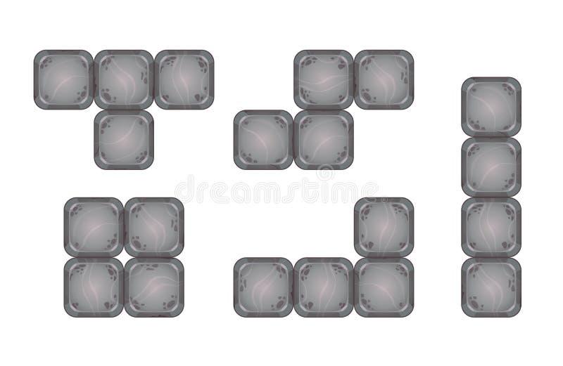 Partes quadradas do tijolo para o projeto de jogo ilustração do vetor