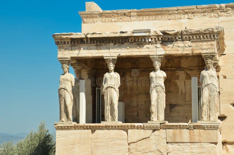 Parthenon στις αρχαίες καρυάτιδες της Αθήνας Ελλάδα στοκ φωτογραφία