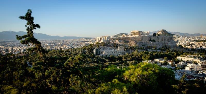 Parthenon, Acropole d'Athènes, vue au coucher du soleil photographie stock