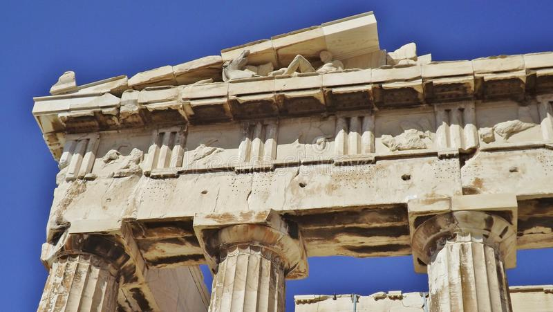 The Parthenon, Acropolis, Athens. Detail. The Acropolis in Athens, Greece. Detail of the Parthenon: columns, capitals and part of a frieze stock photo