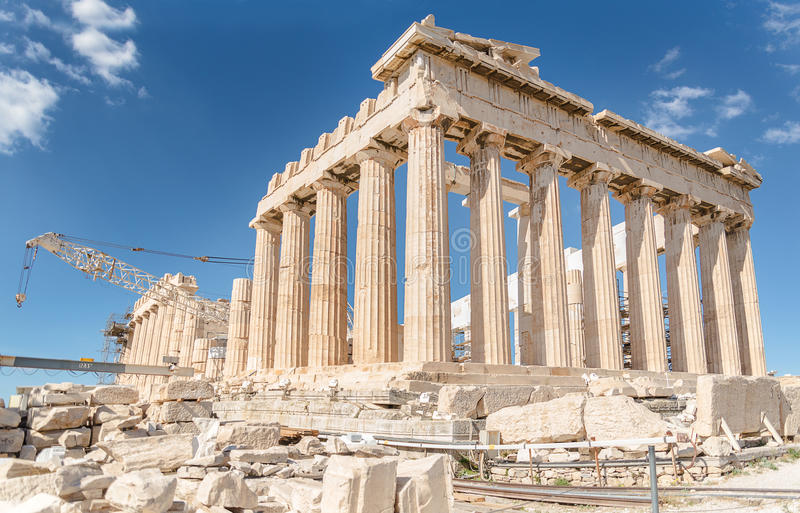 Parthenon in Acropolis, Greece. The Parthenon (Greek: Παρθενών) is a temple on the Athenian Acropolis, Greece, dedicated to the stock images