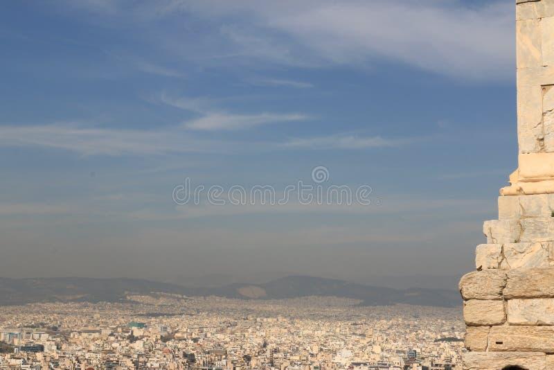 PARTHENON - AKROPOL - ATENcityview royaltyfri fotografi