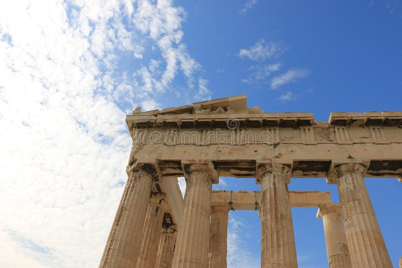 PARTHENON - AKROPOLIS - ATHENE - DETAILSkolommen stock foto