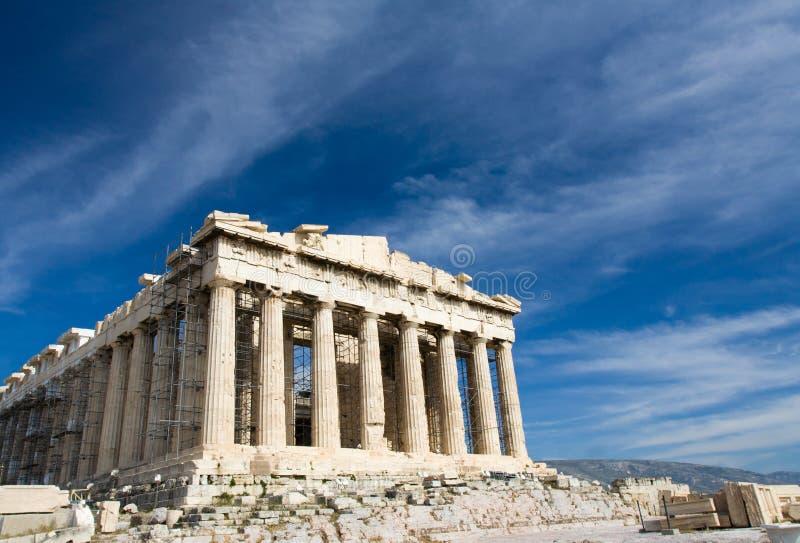 Parthenon antiguo en la acrópolis Atenas Grecia en el bl imagen de archivo