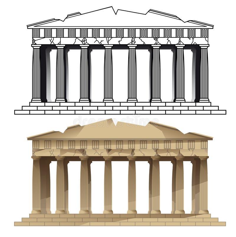 Parthenon, Atenas Vetores de monumentos dos europeus ilustração stock