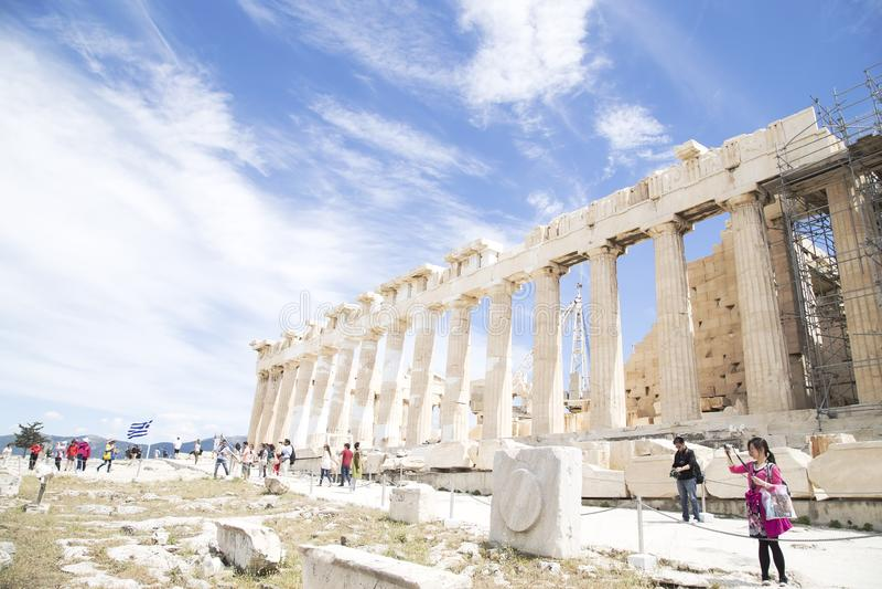 Parthenon in Athene, Griekenland - Mei 2014 stock foto's