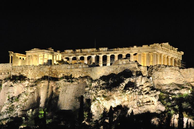 Parthenon, Athens, Greece. Night view of the Parthenon, Athens, Greece stock images