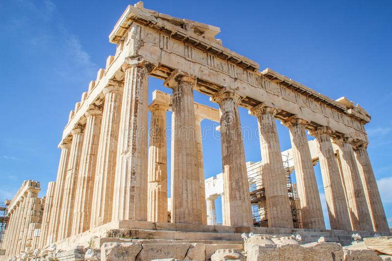 Parthenon beroemde oude tempel in Athene royalty-vrije stock foto