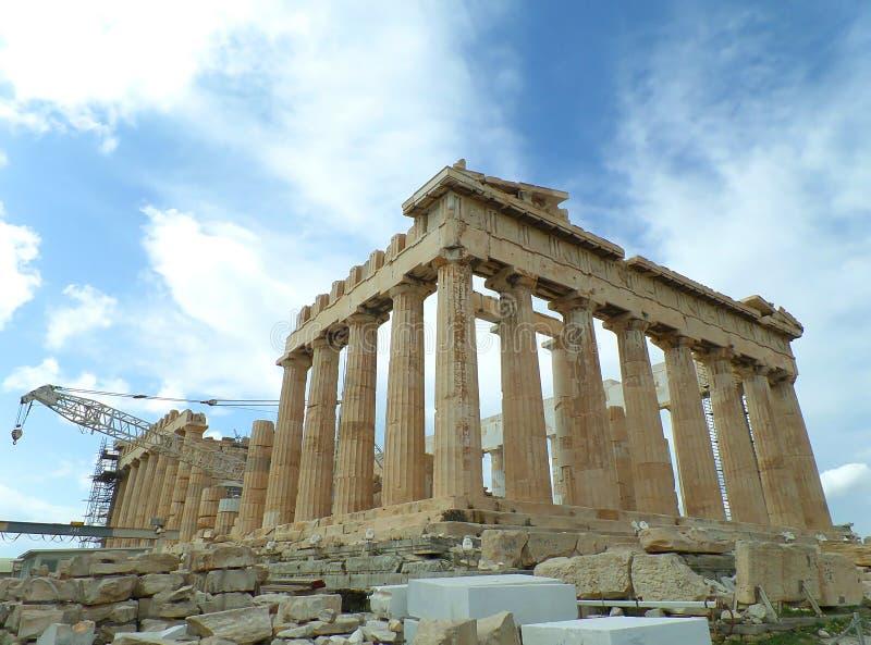 Parthenon, beroemde vroegere tempel op de Akropolis van Athene stock afbeeldingen