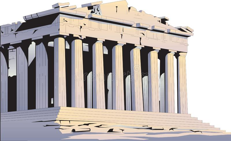 Parthenon Building Landmark Vector Illustration. On white background greece ancient royalty free illustration