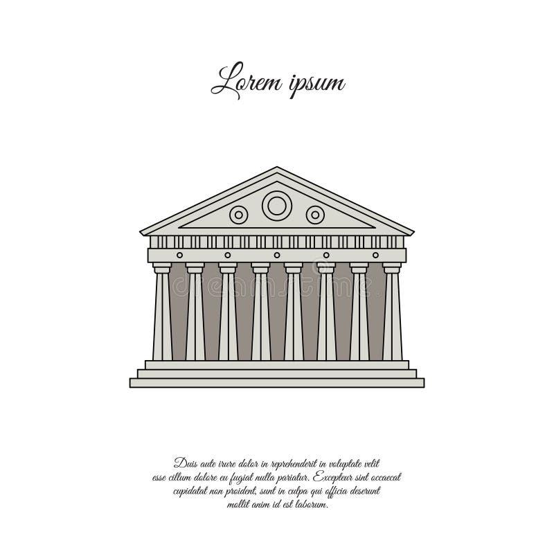 Parthenon dans l'icône de vecteur de couleur d'Athènes, signe illustration libre de droits