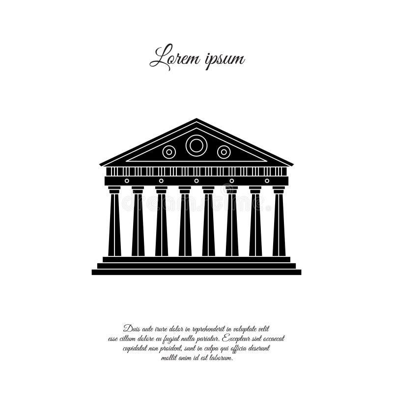 Parthenon dans l'icône de vecteur d'Athènes, signe illustration stock